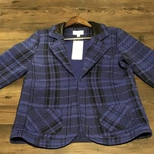 New Erin London Blue/Purple & Black Plaid Blazer